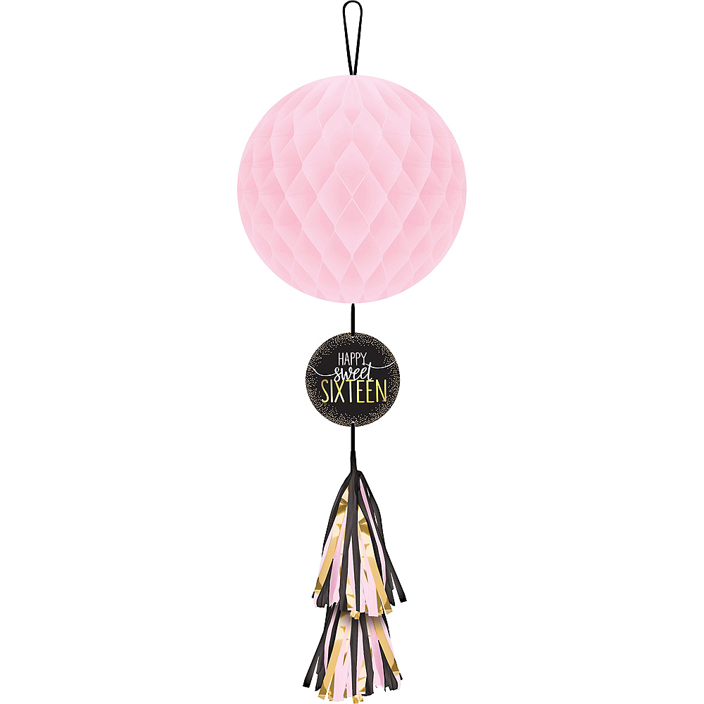 Metallic Gold & Pink Sweet 16 Honeycomb Ball with Tail Image #1