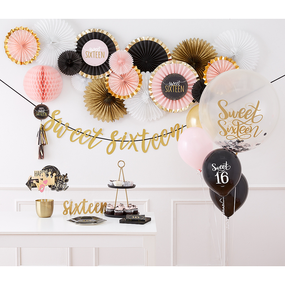 Metallic Gold & Pink Sweet 16 Honeycomb Ball with Tail Image #2