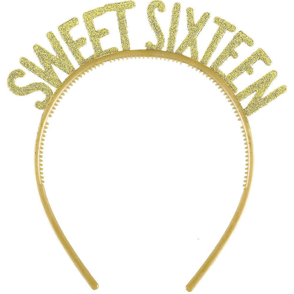 Glitter Gold Sweet 16 Headbands 6ct Image #1