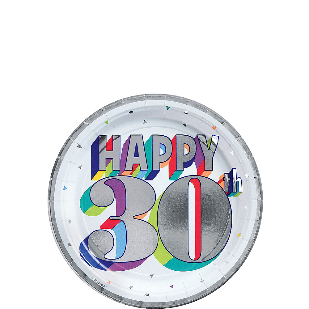 Metallic Here's to 30 Birthday Dessert Plates 8ct Image #1