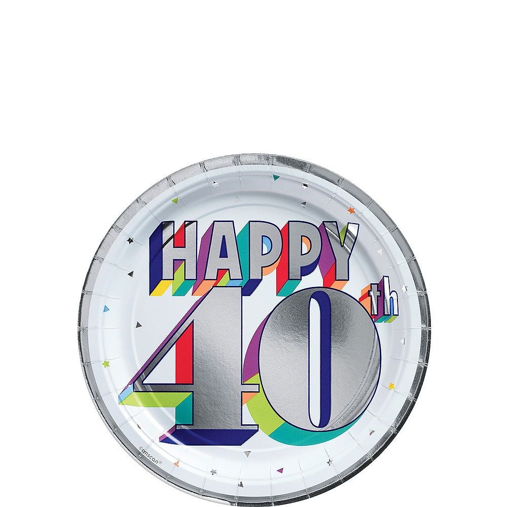 Metallic Here's to 40 Birthday Dessert Plates 8ct Image #1