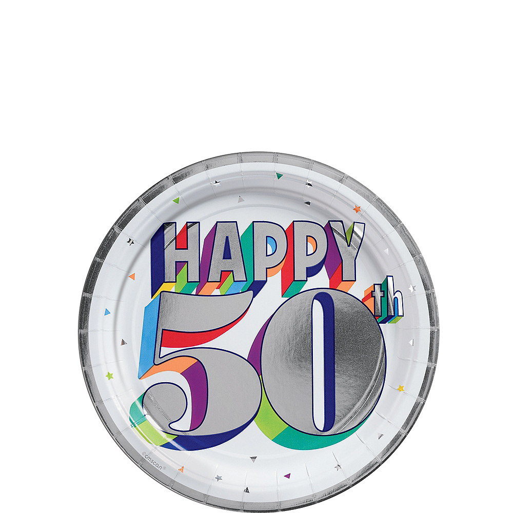 Metallic Here's to 50 Birthday Dessert Plates 8ct