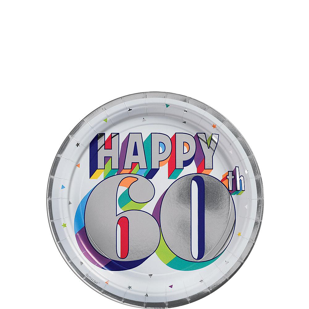 Metallic Here's to 60 Birthday Dessert Plates 8ct Image #1