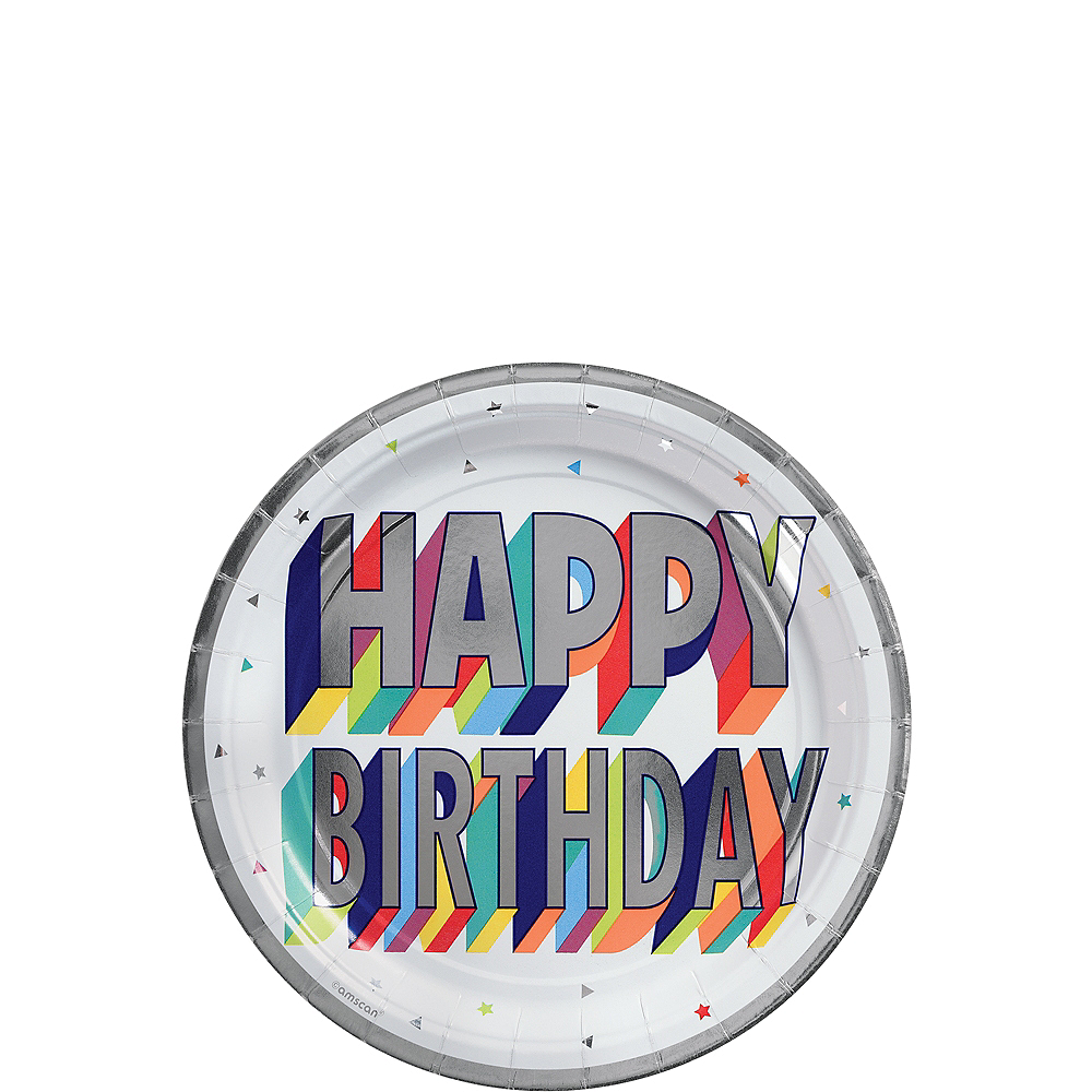 Metallic Here's to Your Birthday Dessert Plates 8ct Image #1