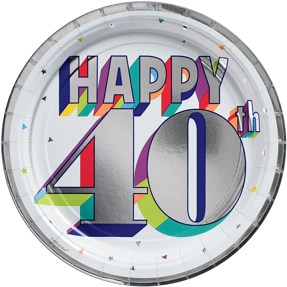 Metallic Here's to 40 Birthday Lunch Plates 8ct Image #1