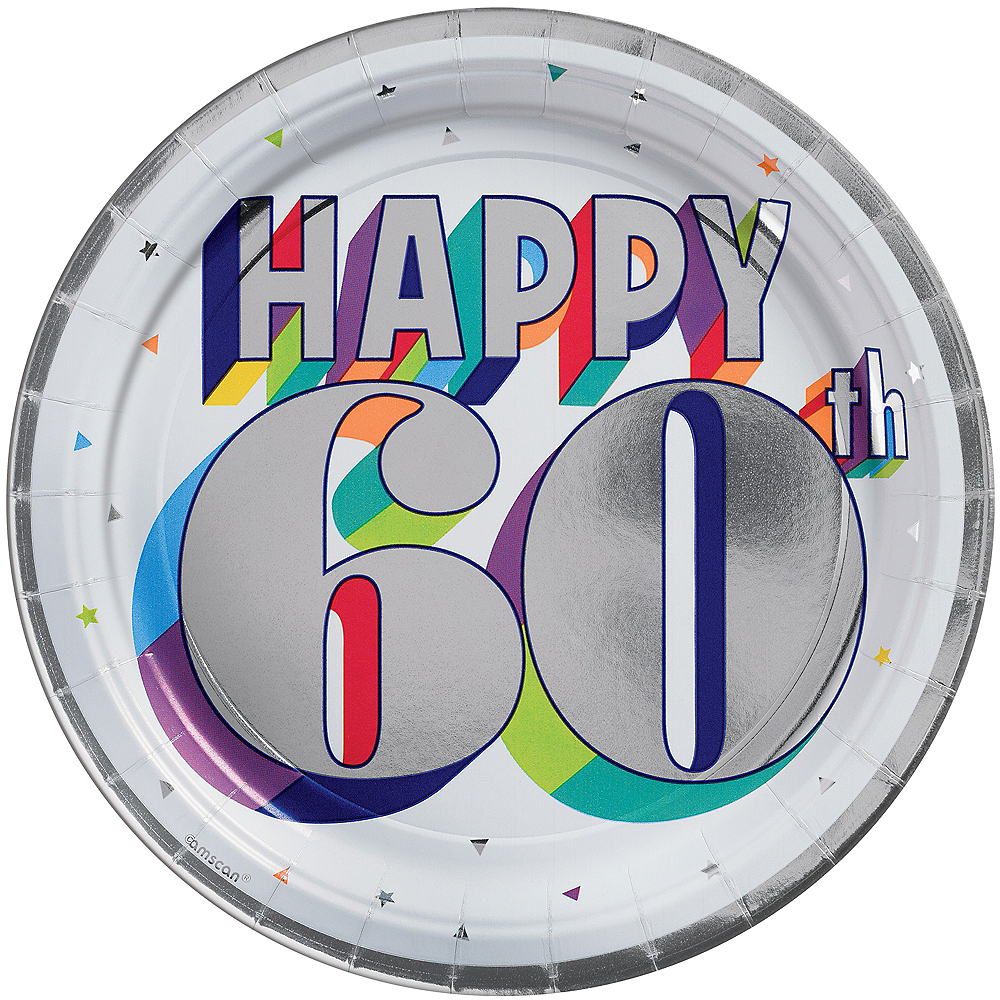 Metallic Here's to 60 Birthday Lunch Plates 8ct Image #1