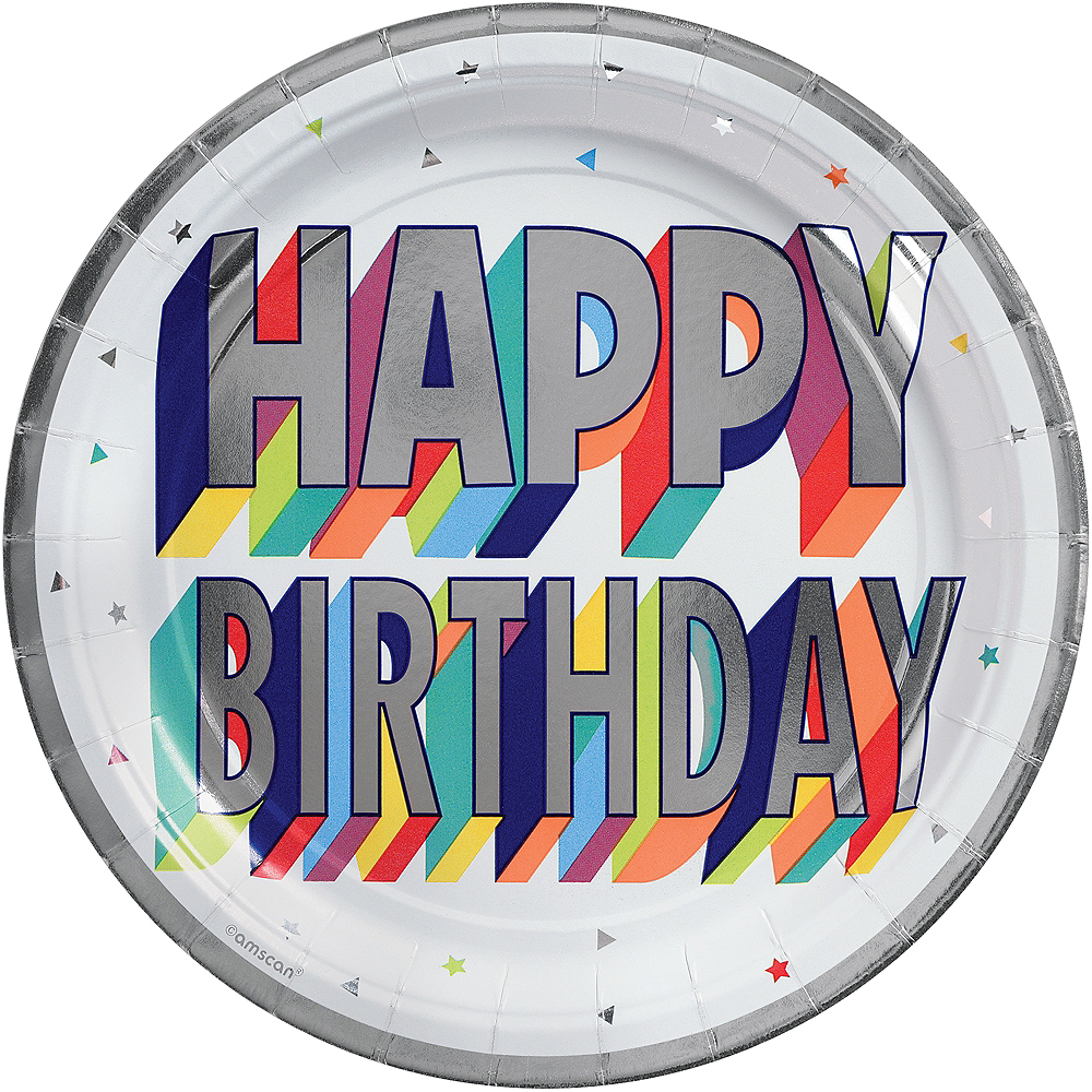 Metallic Here's to Your Birthday Lunch Plates 8ct Image #1