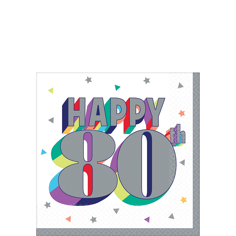 Nav Item for Here's to 80 Birthday Beverage Napkins 16ct Image #1