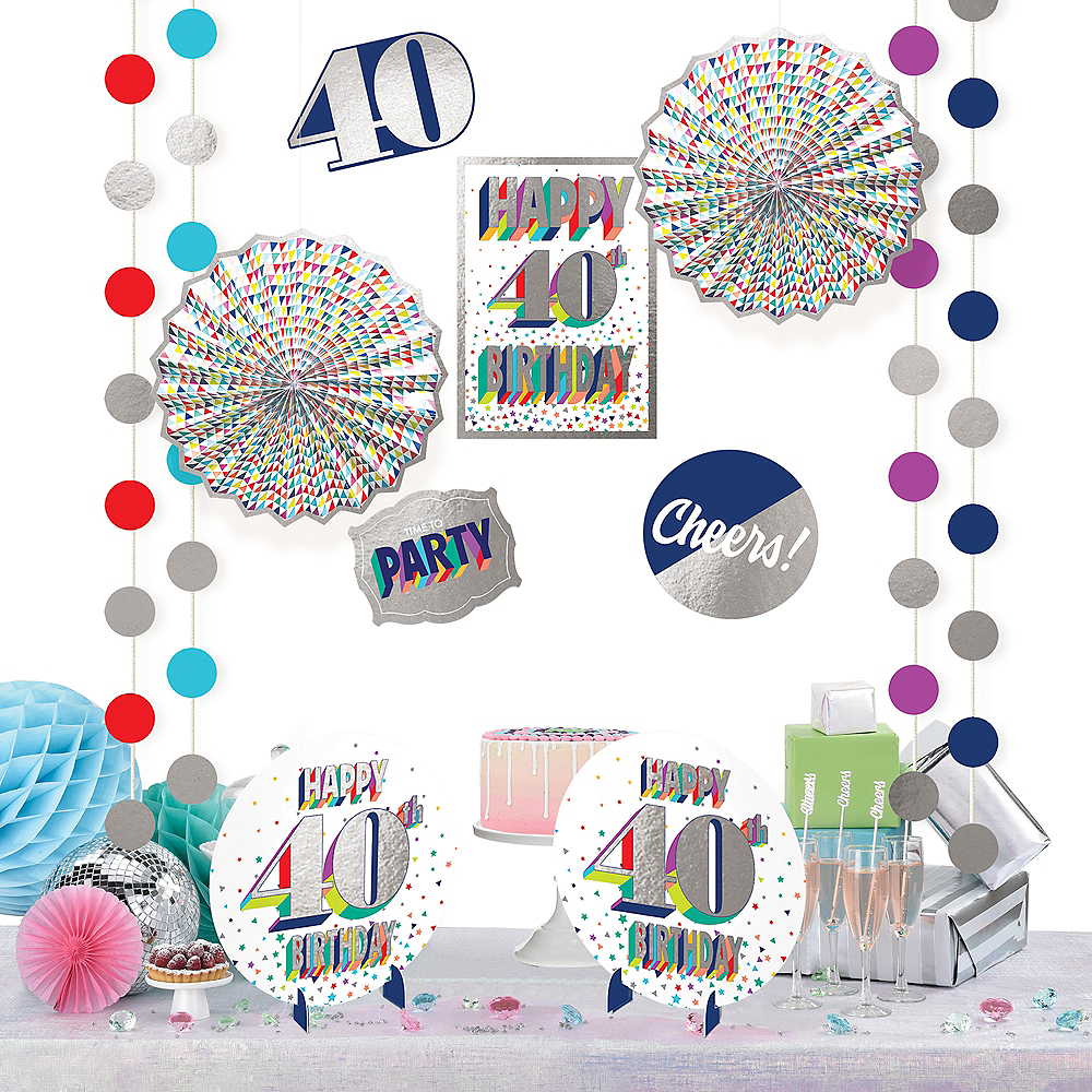 Here's to 40 Birthday Room Decorating Kit 12pc Image #1