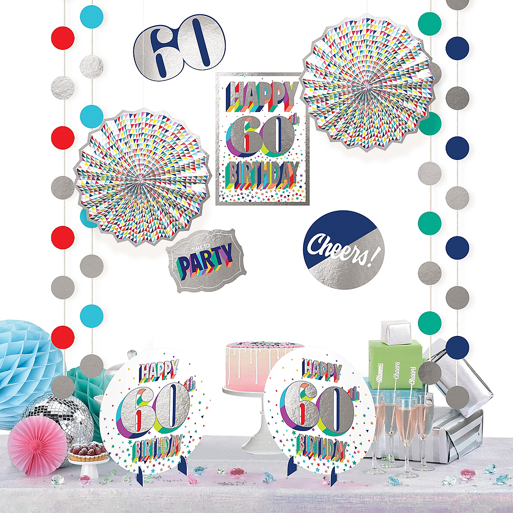 Here's to 60 Birthday Room Decorating Kit 12pc Image #1