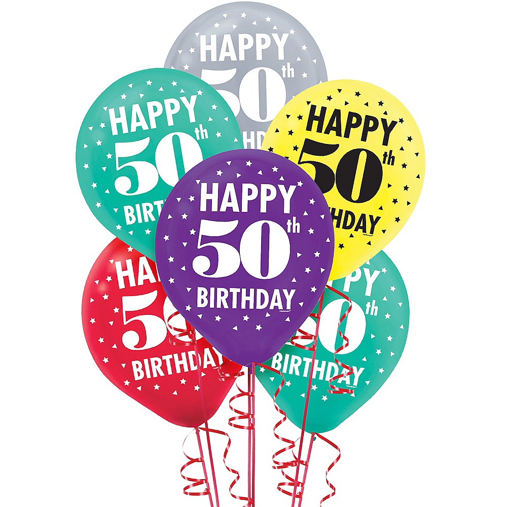 Here's to 50 Birthday Balloons 15ct Image #1