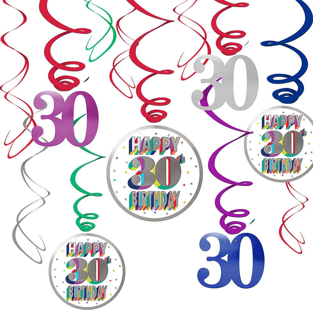Nav Item for Here's to 30 Birthday Swirl Decorations 12ct Image #1