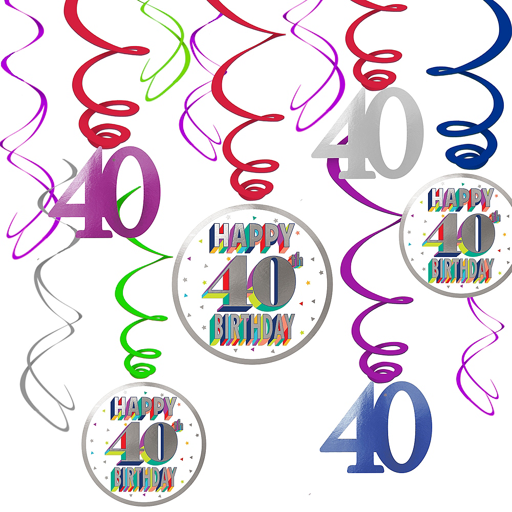 Here's to 40 Birthday Swirl Decorations 12ct Image #1