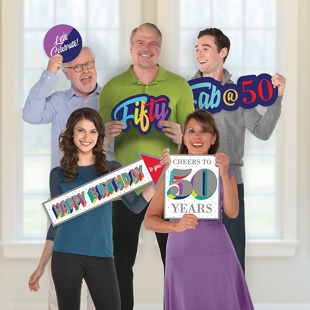 Giant Here's to 50 Birthday Photo Booth Props 5ct Image #1