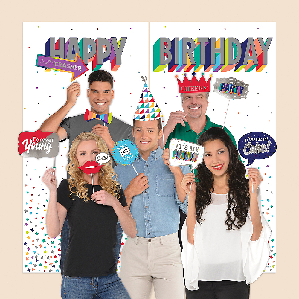 Here's to Your Birthday Scene Setter with Photo Booth Props Image #1