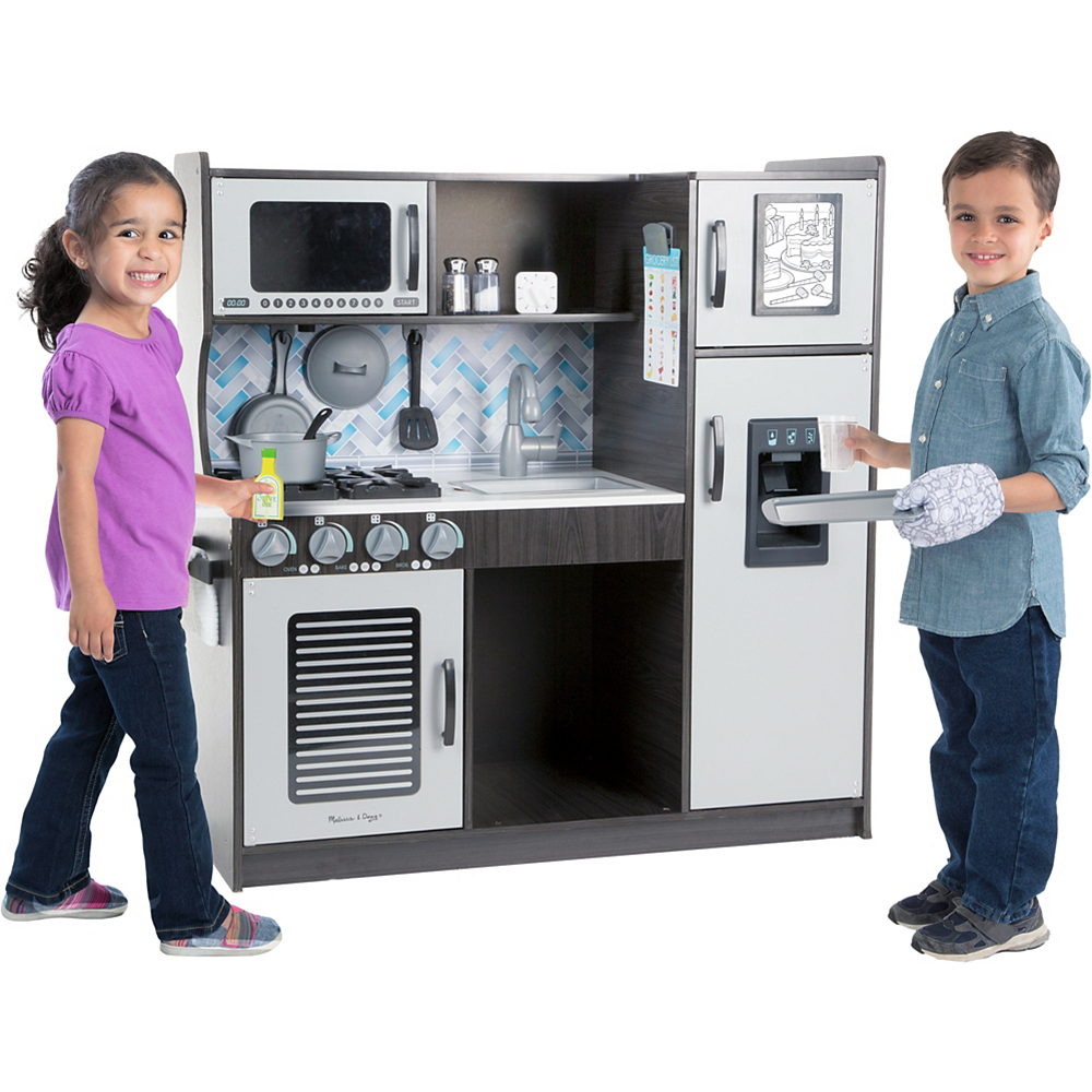 Melissa & Doug Chef's Charcoal Kitchen With Ice Cube Dispenser Image #2