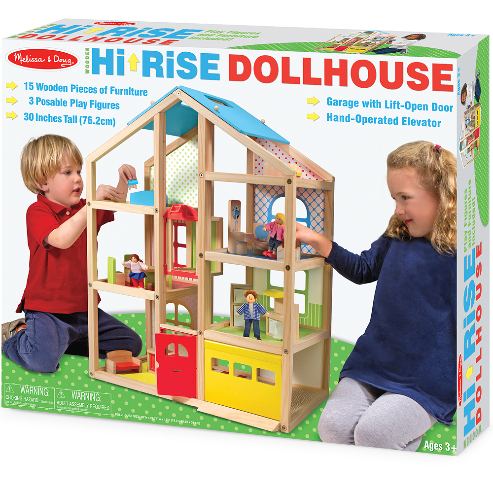 Melissa & Doug Hi-Rise Dollhouse with Furniture Image #1