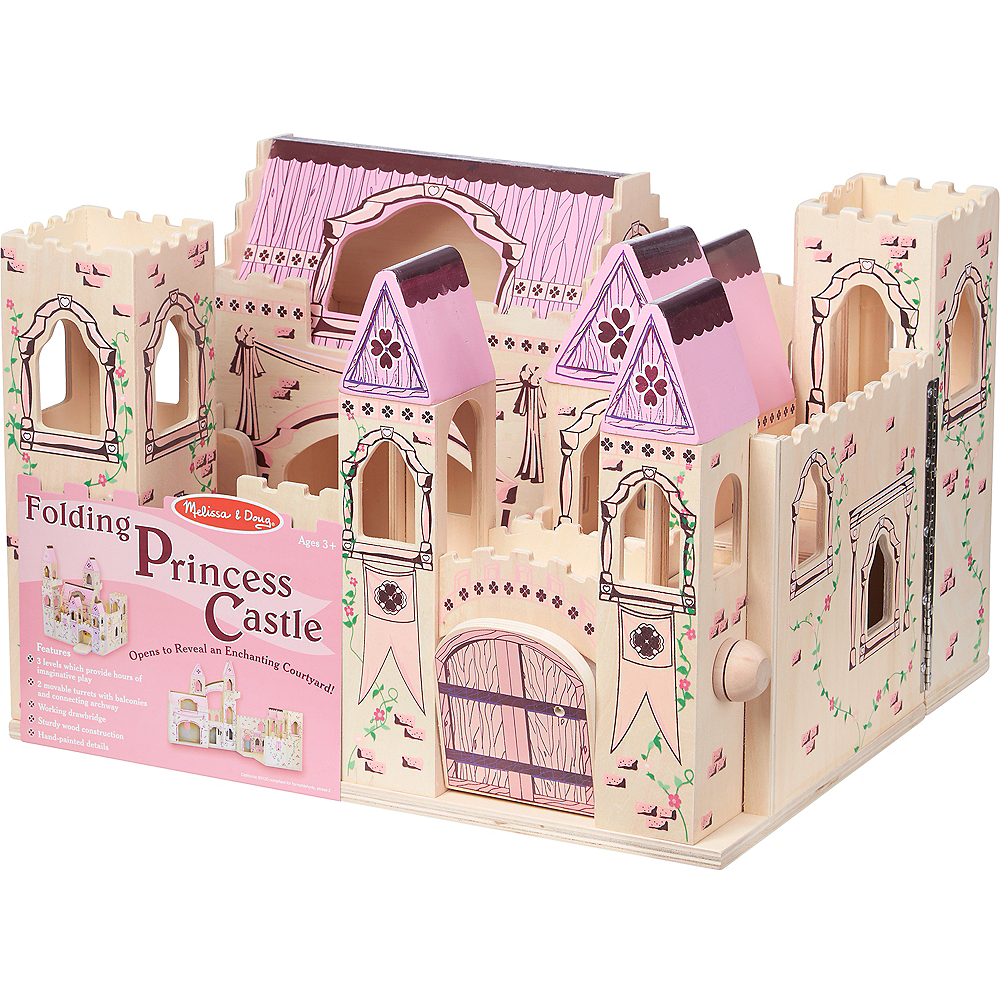 Melissa & Doug Folding Princess Castle Dollhouse with Drawbridge &Turrets Image #3