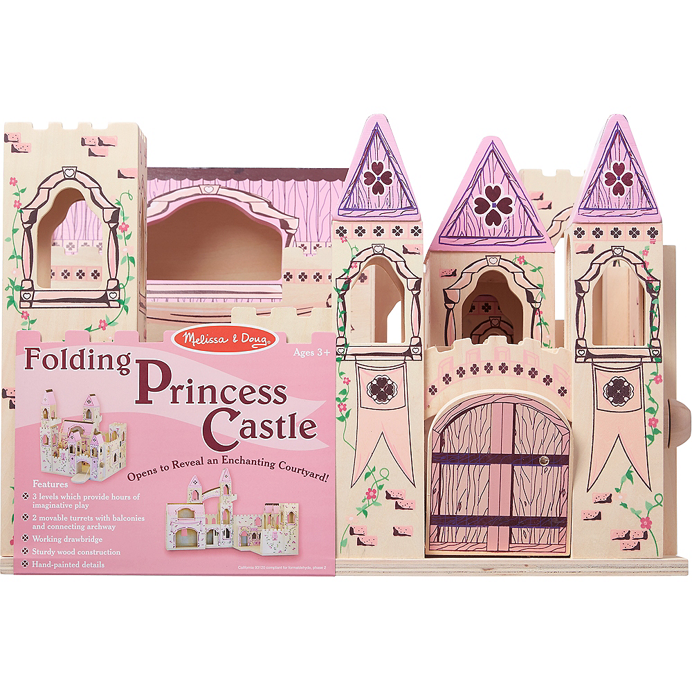 Melissa & Doug Folding Princess Castle Dollhouse with Drawbridge &Turrets Image #4