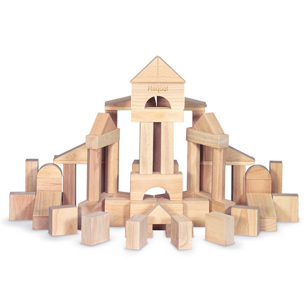 Melissa & Doug Standard Unit Solid-Wood Building Blocks with Storage Tray 60pc Image #1