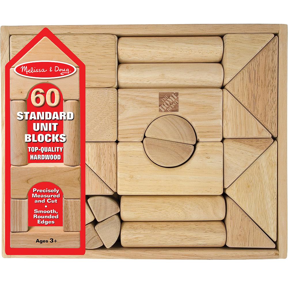 Melissa & Doug Standard Unit Solid-Wood Building Blocks with Storage Tray 60pc Image #2