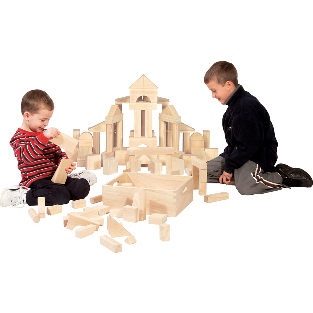 Melissa & Doug Standard Unit Solid-Wood Building Blocks with Storage Tray 60pc Image #3