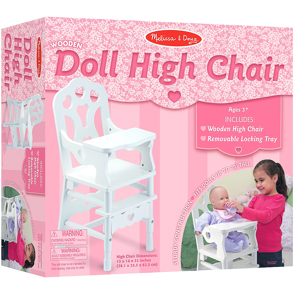 Melissa & Doug White Doll High Chair with Tray Image #3