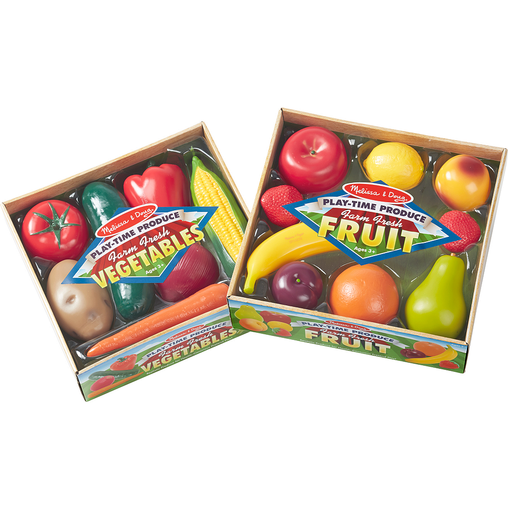 Melissa & Doug Play-Time Produce Fruit & Vegetables 16pc Image #1