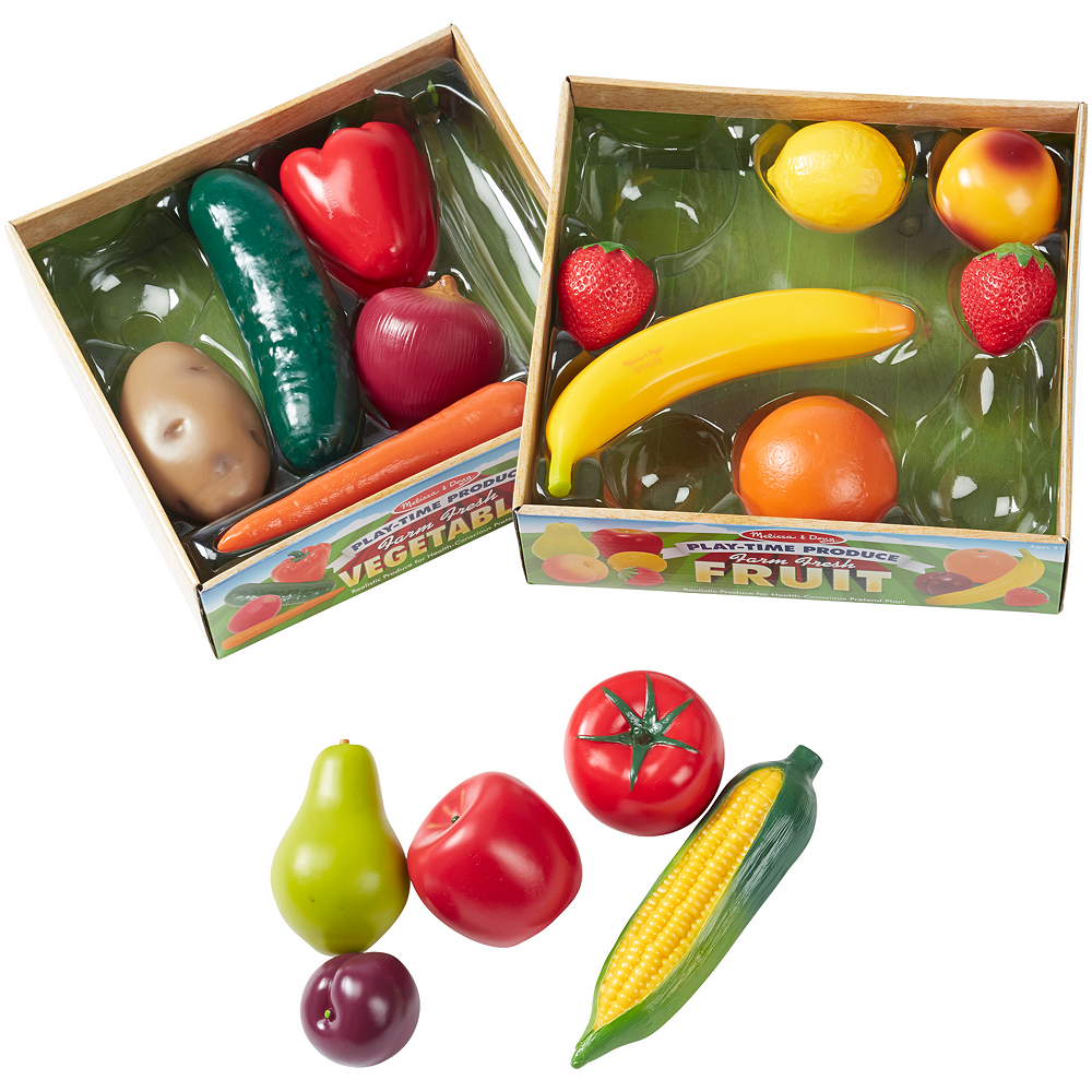 Melissa & Doug Play-Time Produce Fruit & Vegetables 16pc Image #2