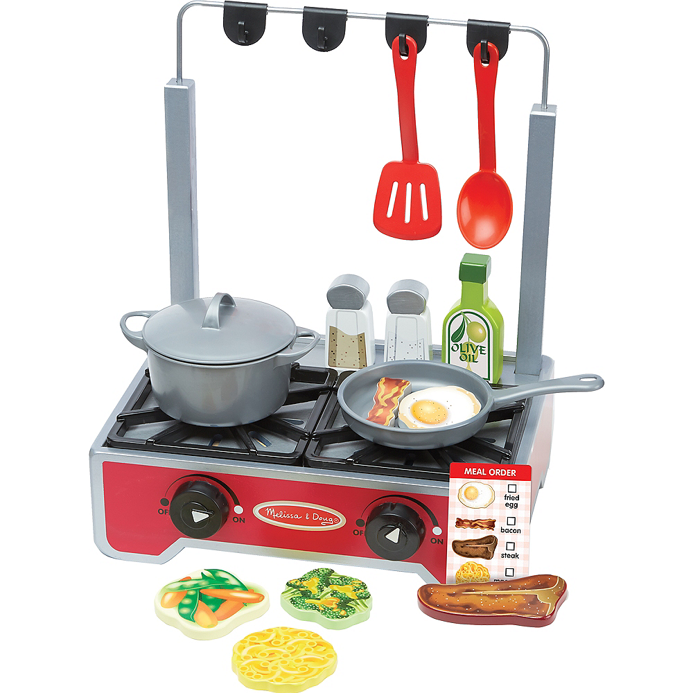 Melissa & Doug Deluxe Cooktop Set with Play Food, Pot & Pan Image #1