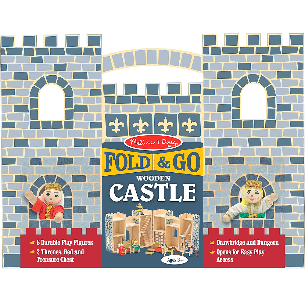 Melissa & Doug Fold and Go Castle Dollhouse Set 12pc Image #1