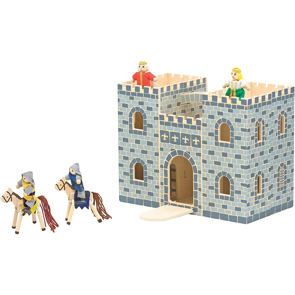 Melissa & Doug Fold and Go Castle Dollhouse Set 12pc Image #2