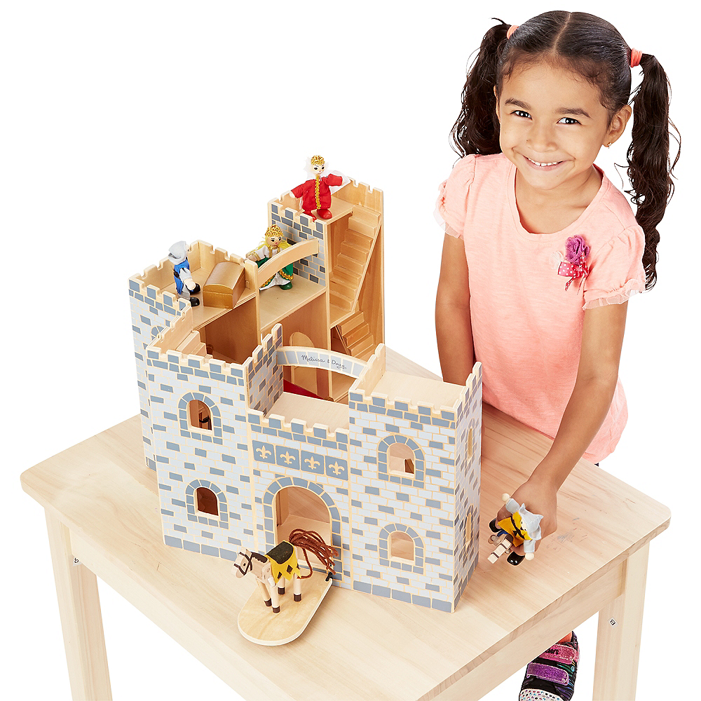 Melissa & Doug Fold and Go Castle Dollhouse Set 12pc Image #4