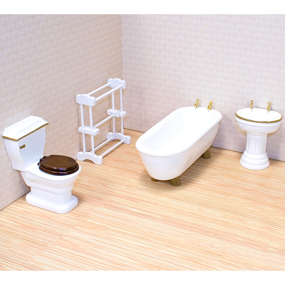 Melissa & Doug Classic Dollhouse Bathroom Furniture 4pc Image #1