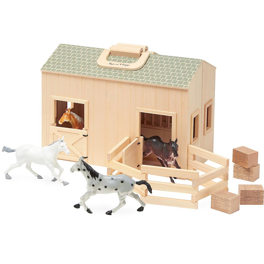 Melissa & Doug Fold and Go Horse Stable Dollhouse 11pc Image #1