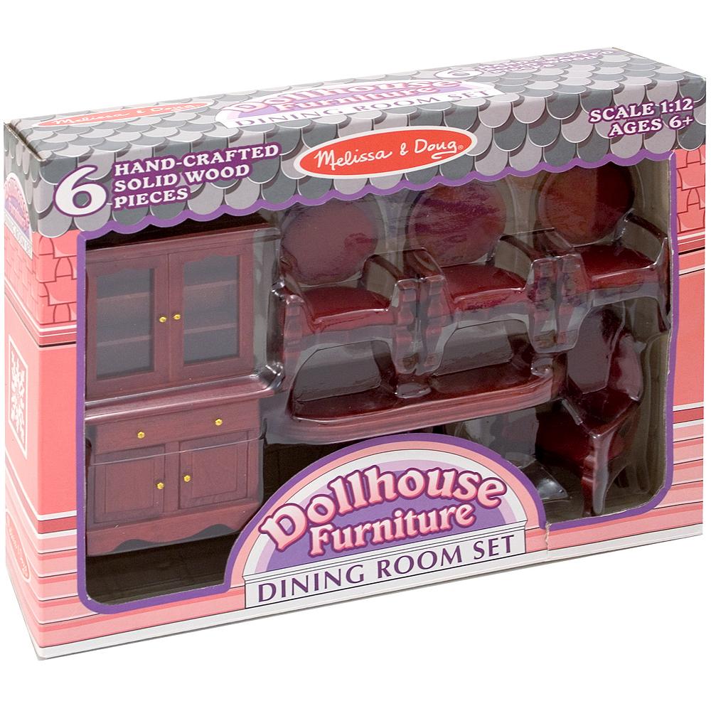 Melissa & Doug Classic Dollhouse Dining Room Furniture 6pc Image #1