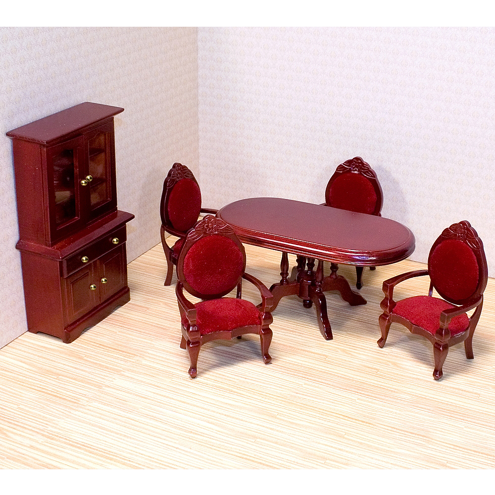 Melissa & Doug Classic Dollhouse Dining Room Furniture 6pc Image #2