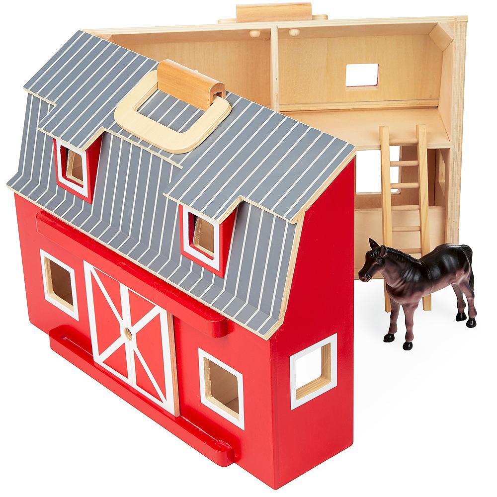 Melissa & Doug Fold and Go Wooden Barn with Animal Figures Image #1