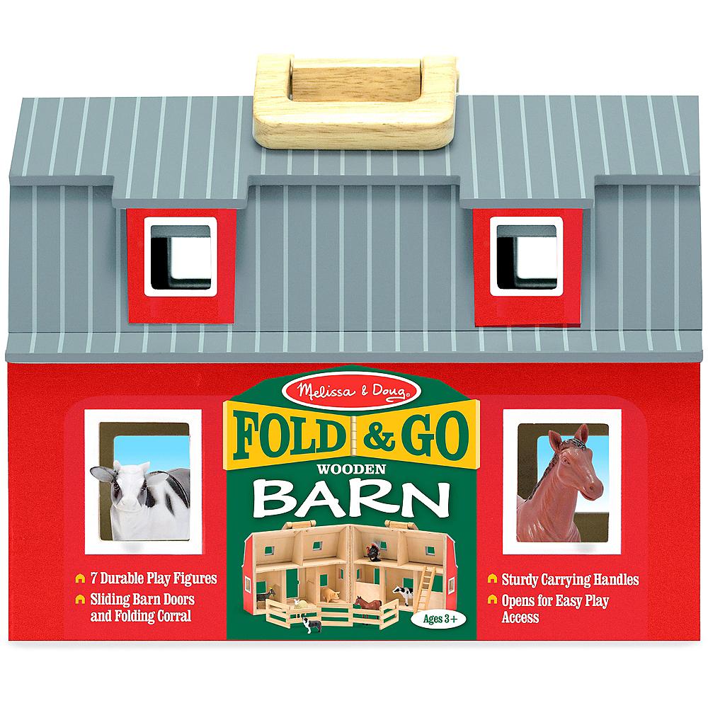Melissa & Doug Fold and Go Wooden Barn with Animal Figures Image #4
