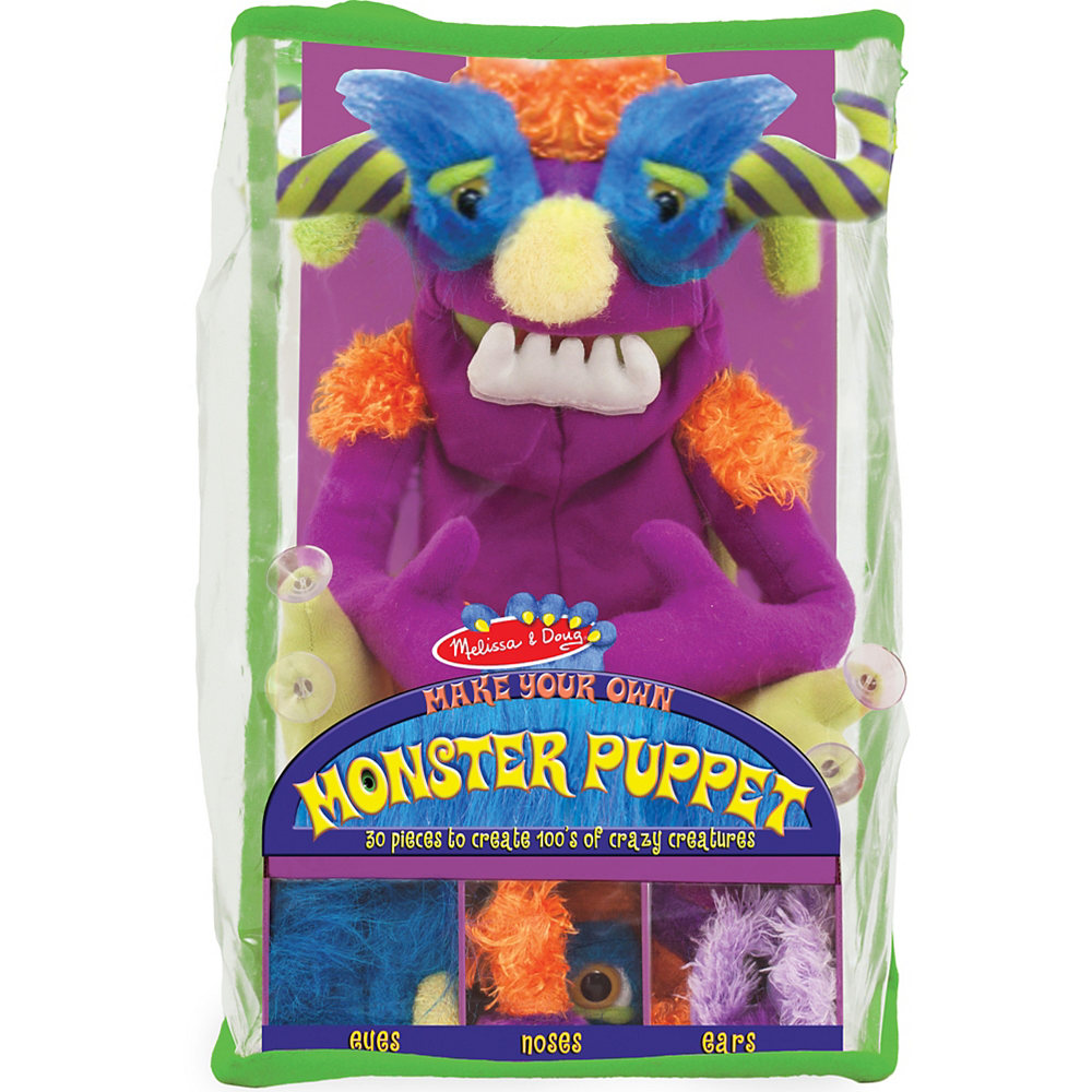 Melissa & Doug Make-Your-Own Fuzzy Monster Puppet Kit with Carrying Case 30pc Image #1