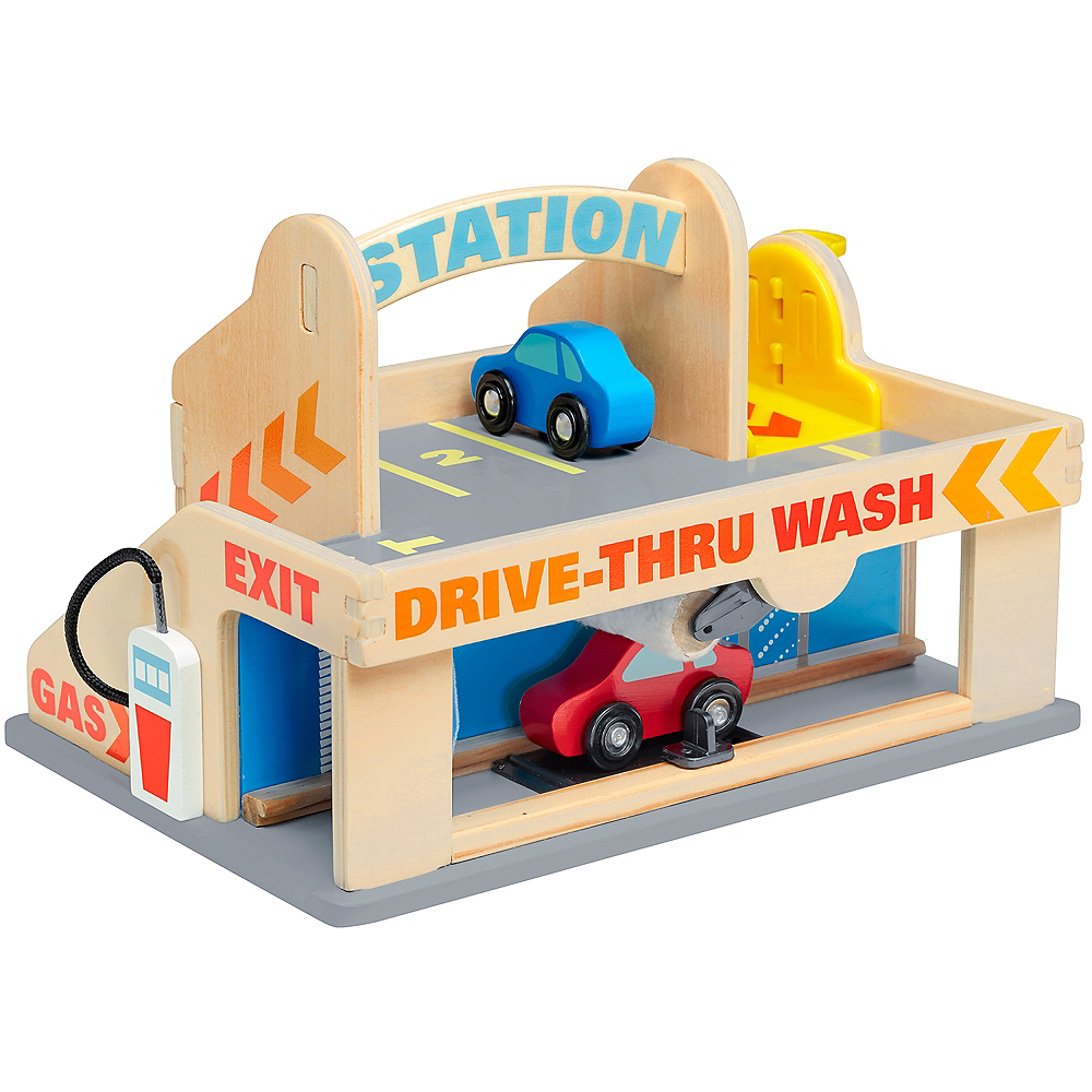 Melissa & Doug Service Station Parking Garage With Cars and Drive-Thru Car Wash Image #1