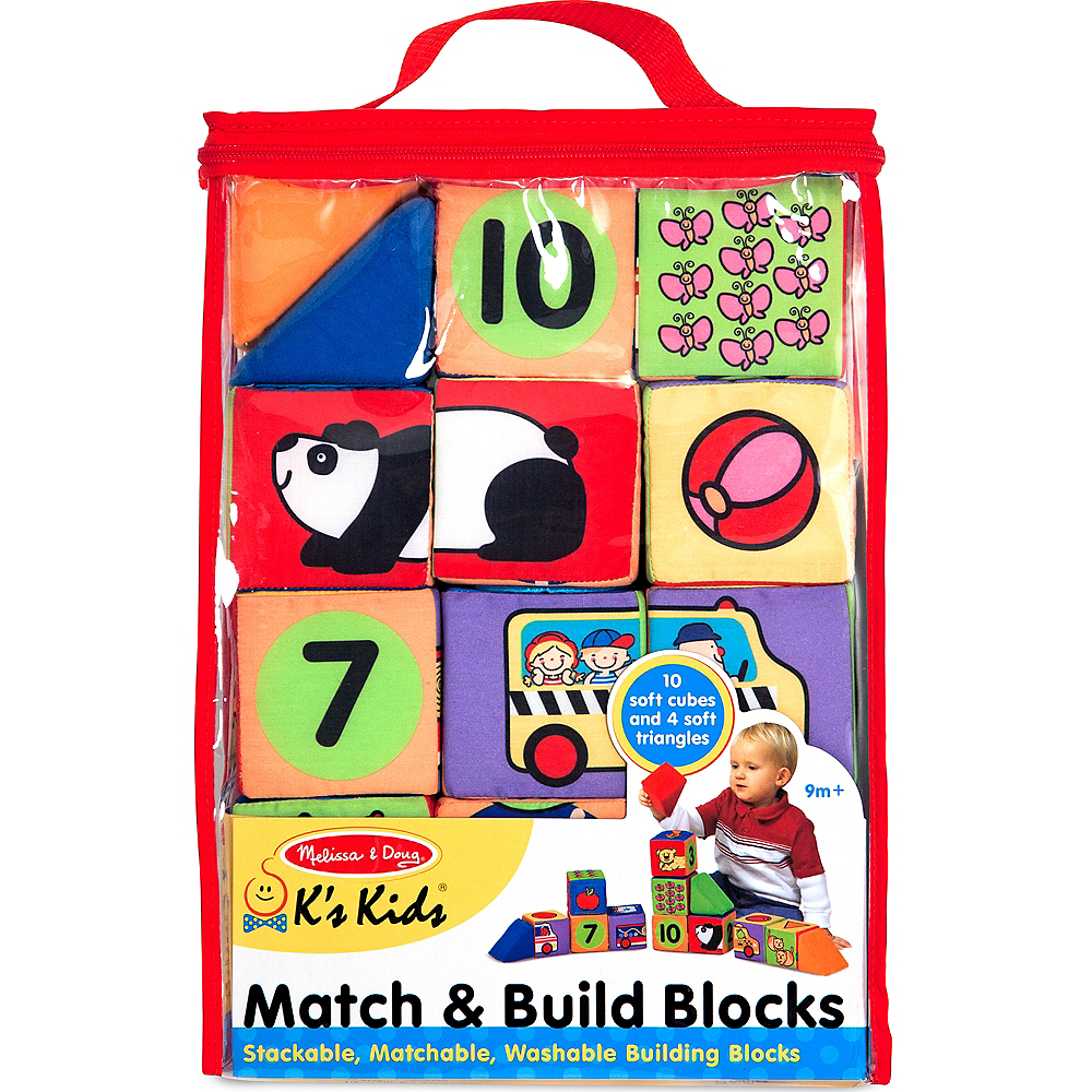 Melissa & Doug K's Kids Match & Build Soft Blocks Set Image #1