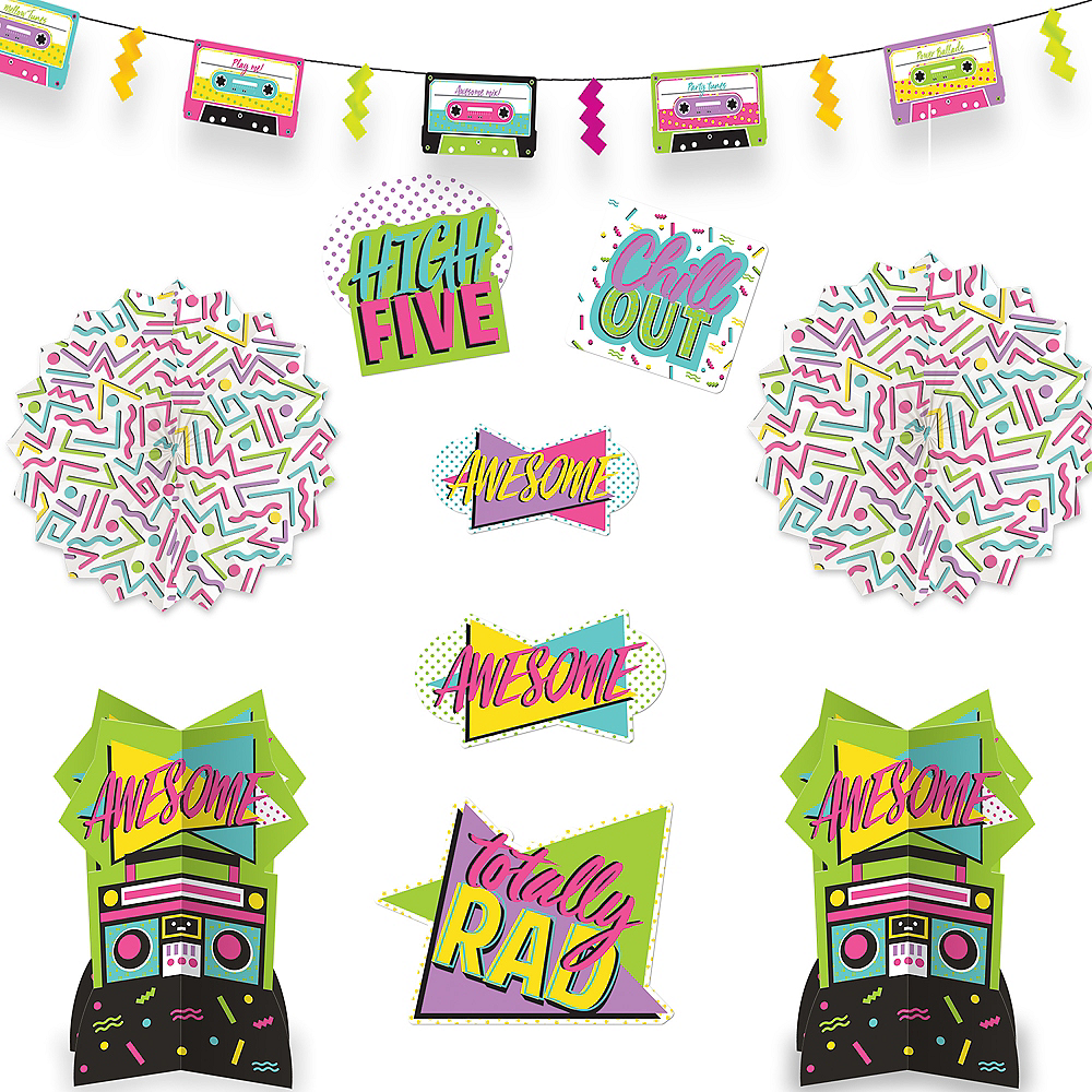 Awesome 80s Room Decorating Kit 10pc Image #1