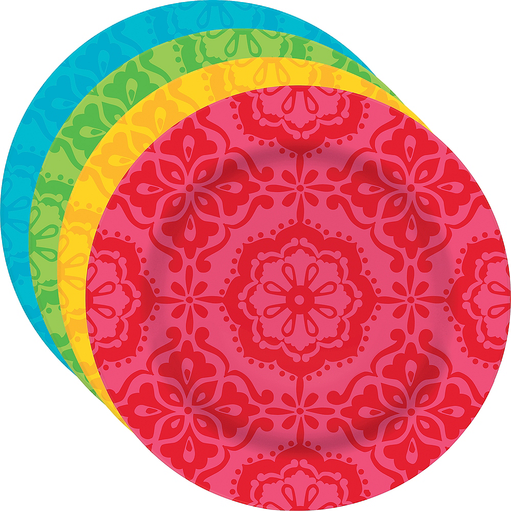 Nav Item for Fiesta Time Plastic Dessert Plates 4ct Image #1