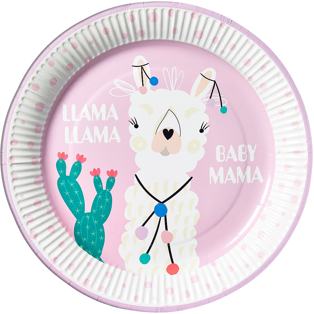 Nav Item for Llama Baby Mama Lunch Paper Plate Image #1