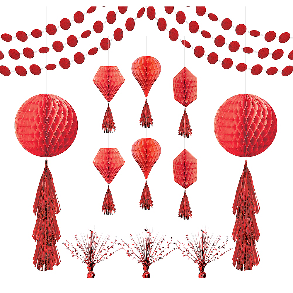 Red Honeycomb Decorating Kit Image #1