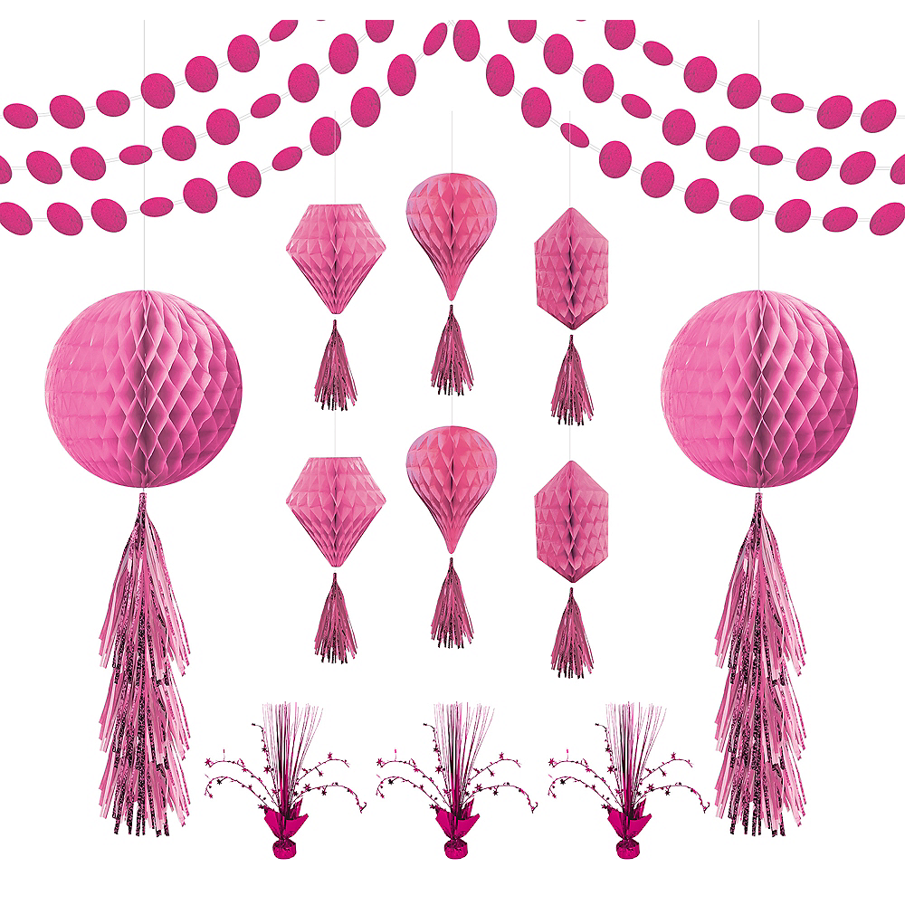 Bright Pink Honeycomb Decorating Kit Image #1