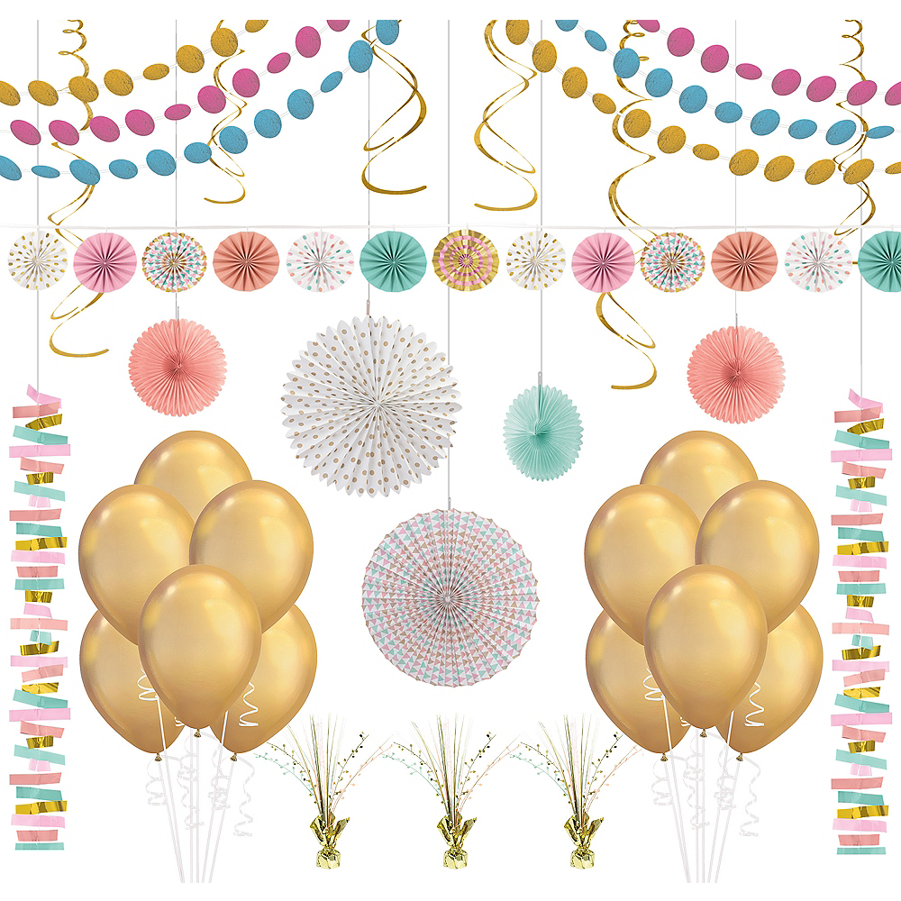 Pastel & Gold Decorating Kit with Balloons Image #1