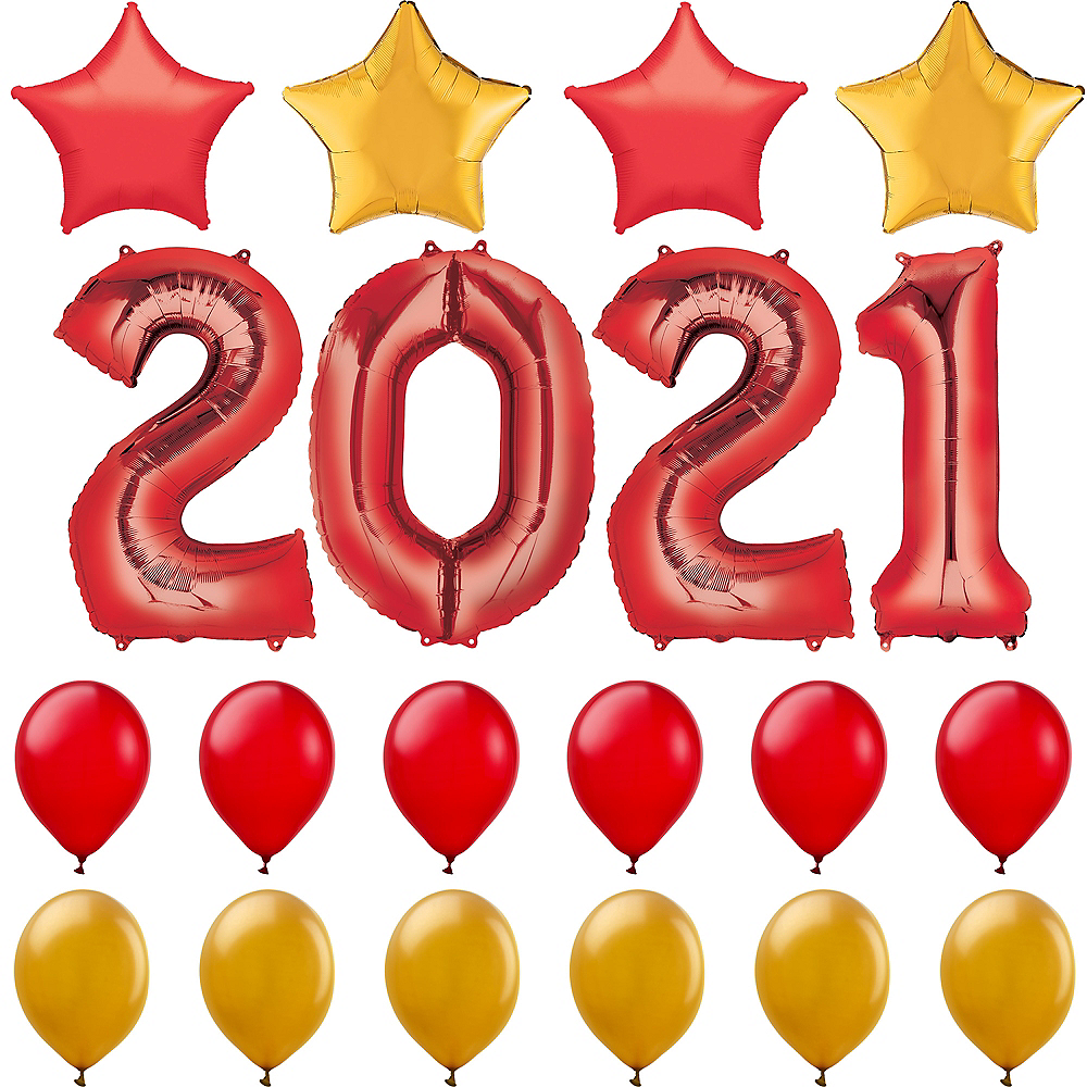 34in Red 2019 Number Balloon Kit Image #1