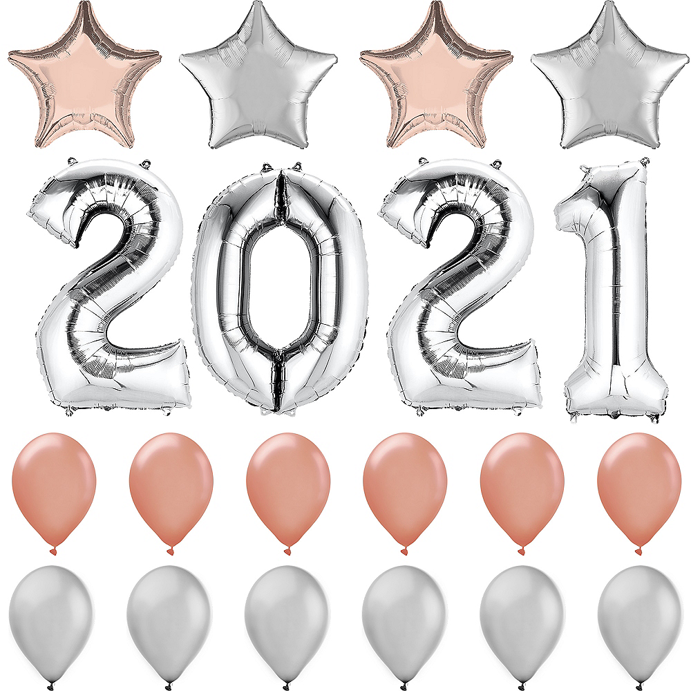 34in Rose Gold & Silver 2019 Number Balloon Kit Image #1